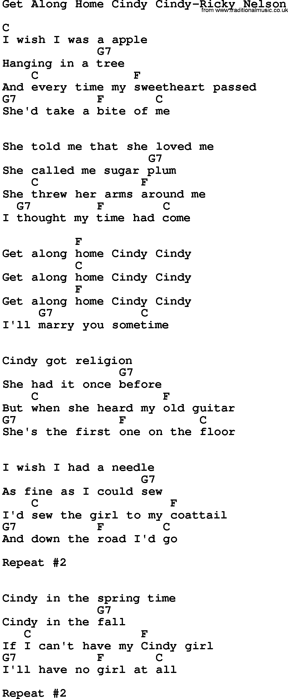 Country Music Get Along Home Cindy Cindy Ricky Nelson Lyrics And Chords