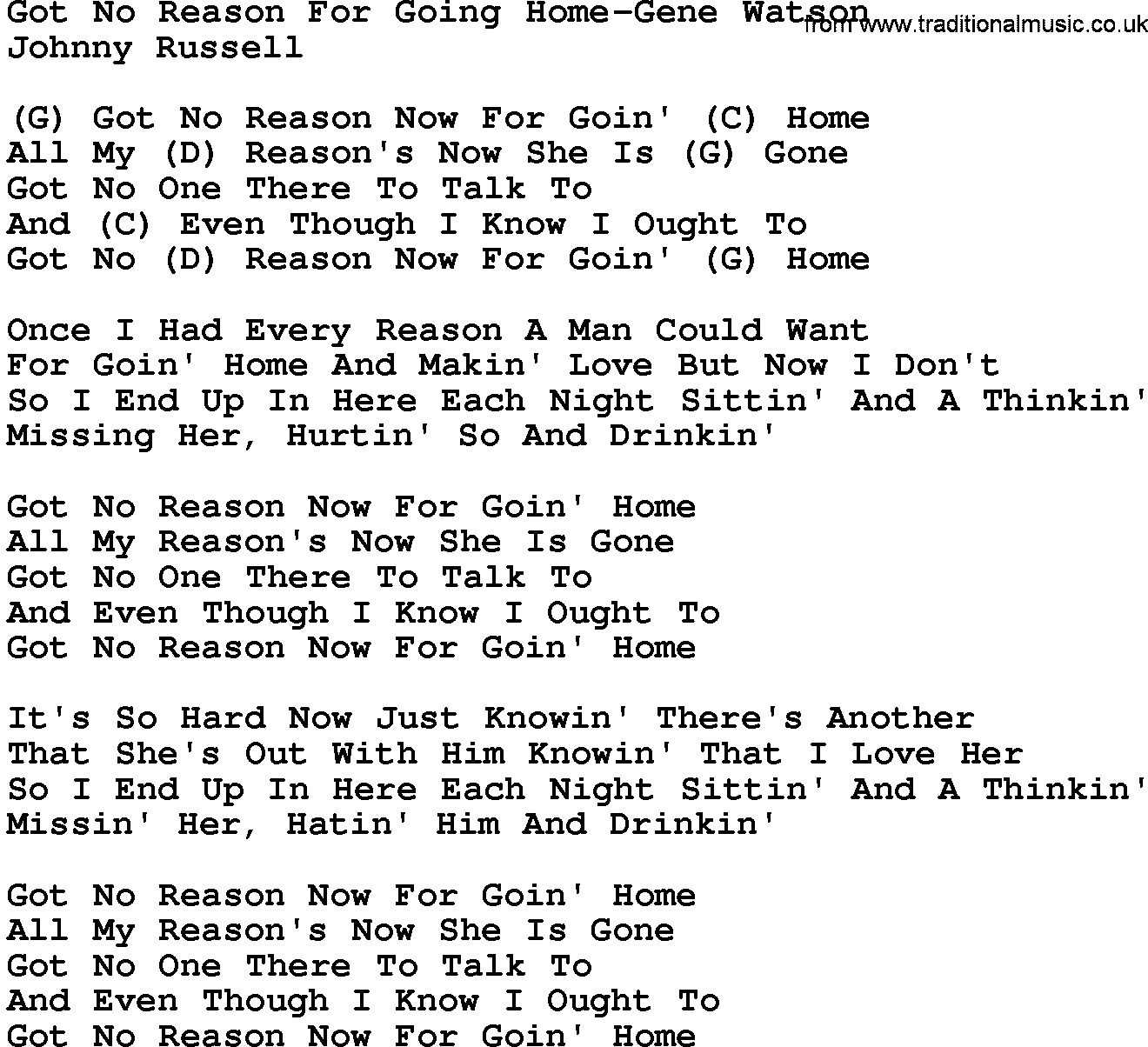 Country Music Got No Reason For Going Home Gene Watson Lyrics And Chords