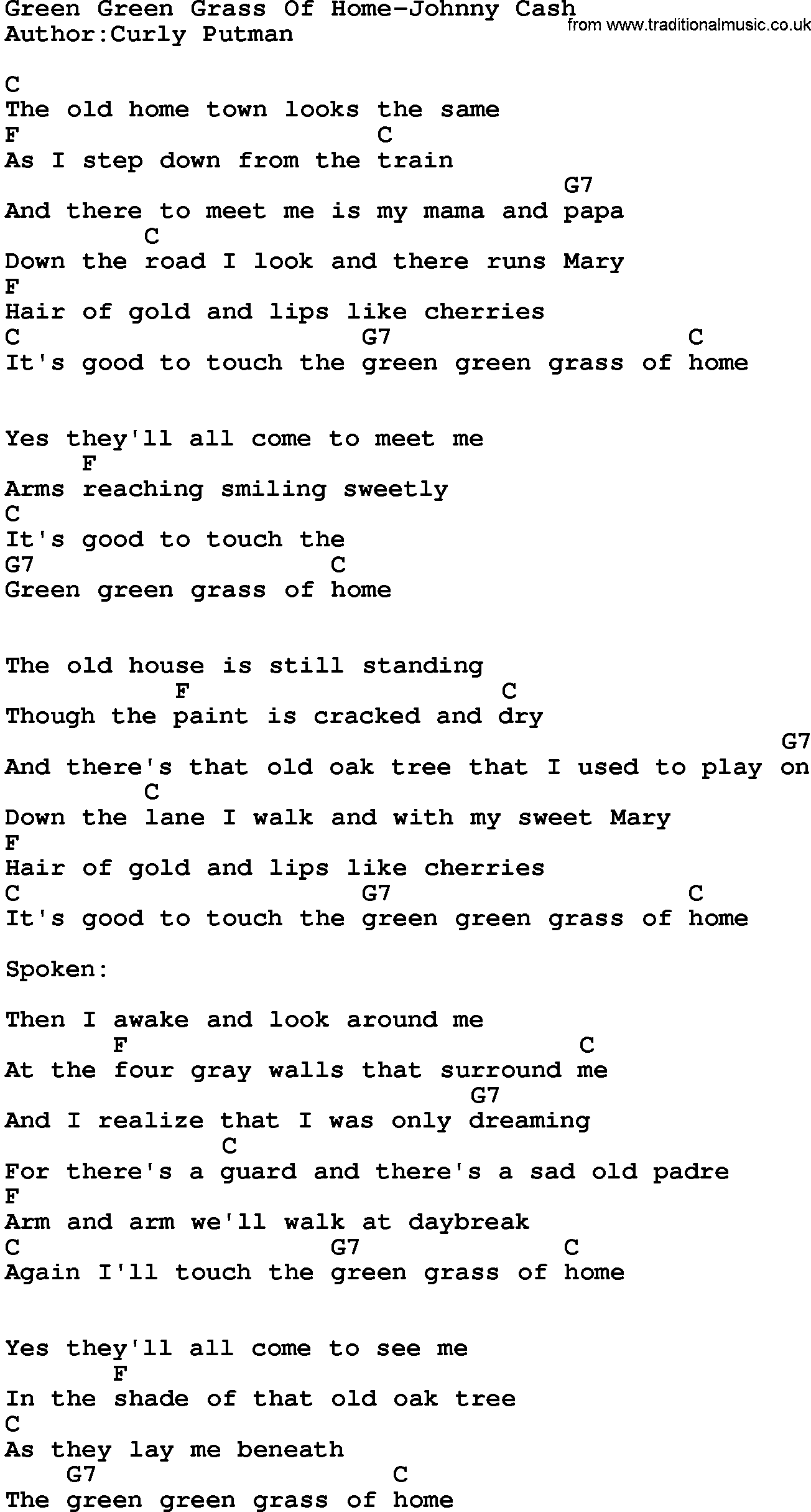 Country Music:Green Green Grass Of Home-Johnny Cash Lyrics ...