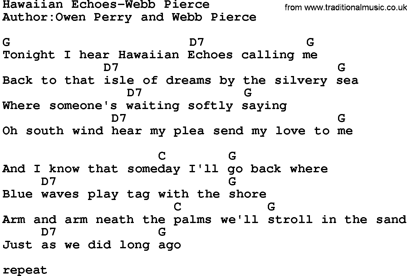 Country musichawaiian echoes webb pierce lyrics and chords hexwebz Images