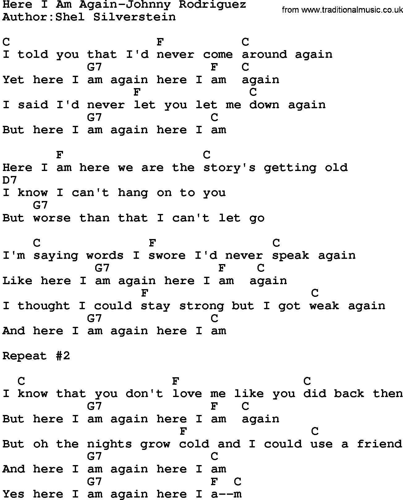 Country Musichere I Am Again Johnny Rodriguez Lyrics And Chords