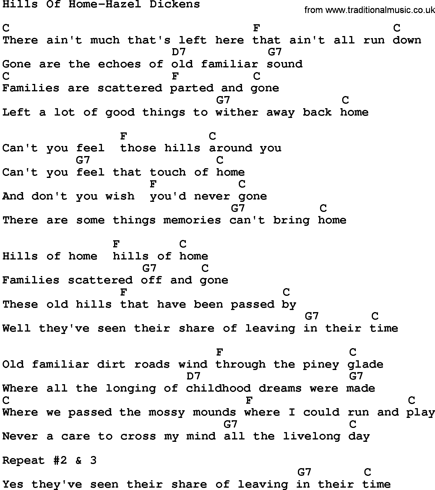 Country musichills of home hazel dickens lyrics and chords hexwebz Images