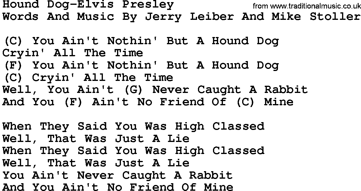 Country Musichound Dog Elvis Presley Lyrics And Chords