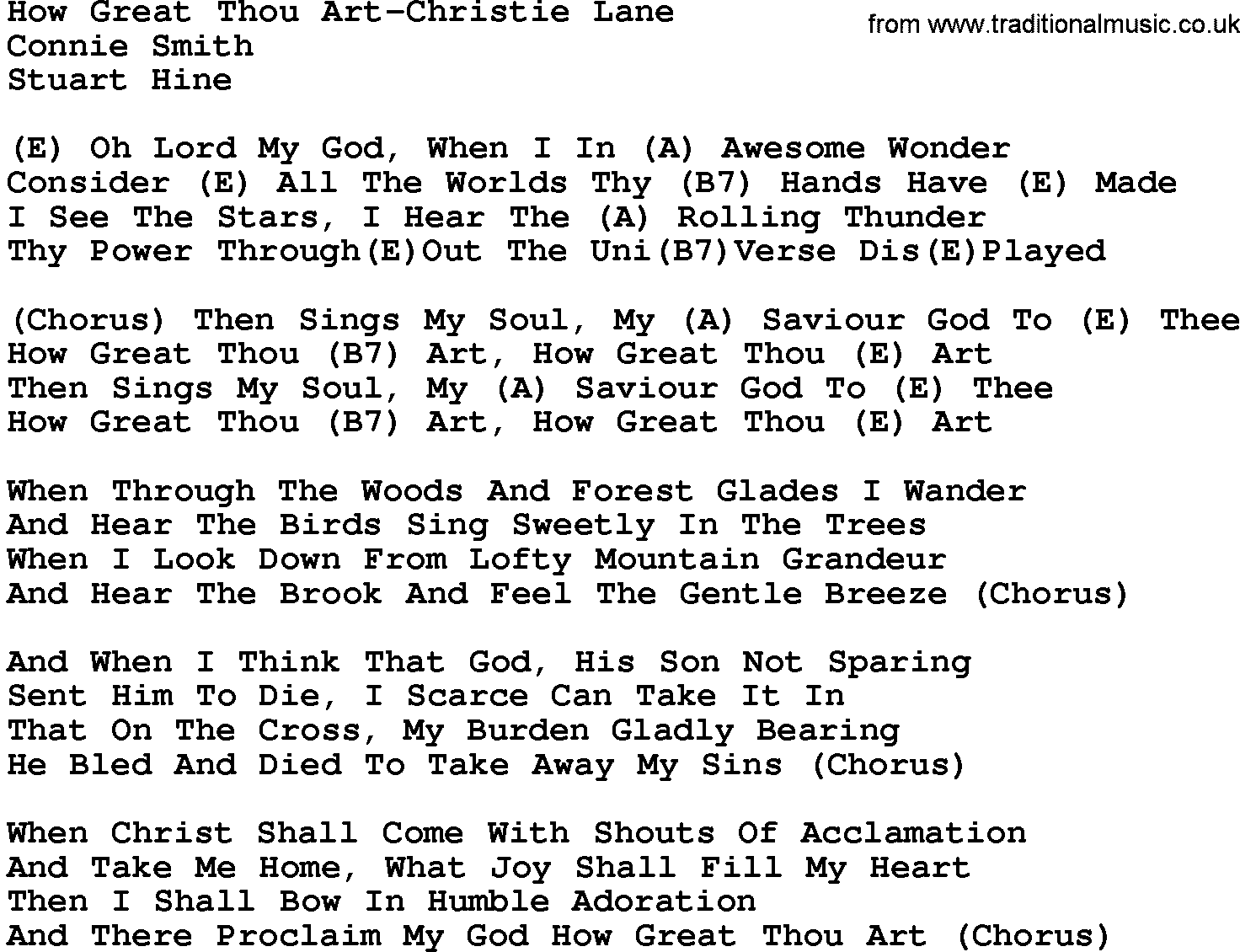 graphic about Mary Did You Know Lyrics Printable called Region Songs:How Superior Thou Artwork-Christie Lane Lyrics and Chords