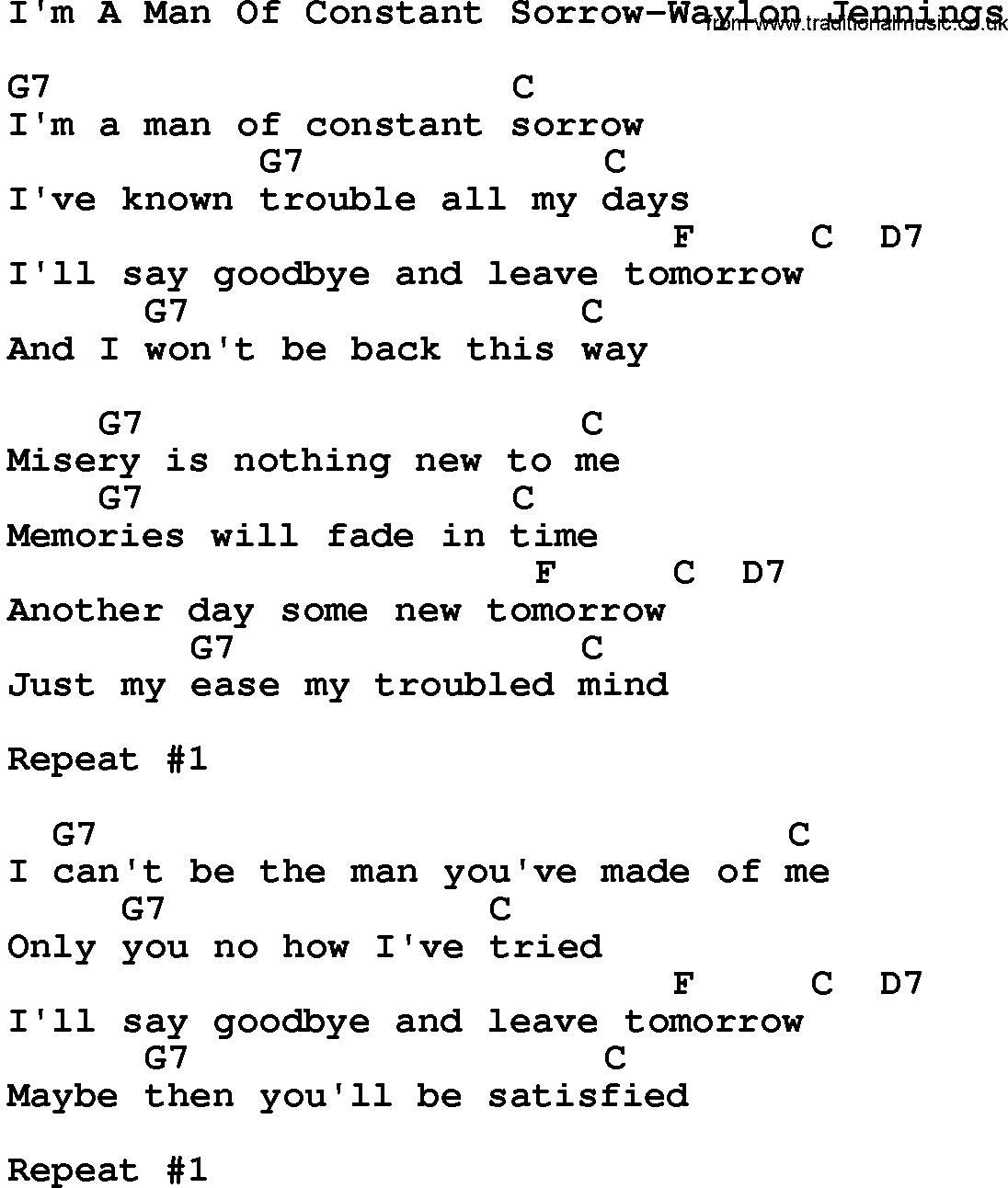 Man of constant sorrow guitar chords