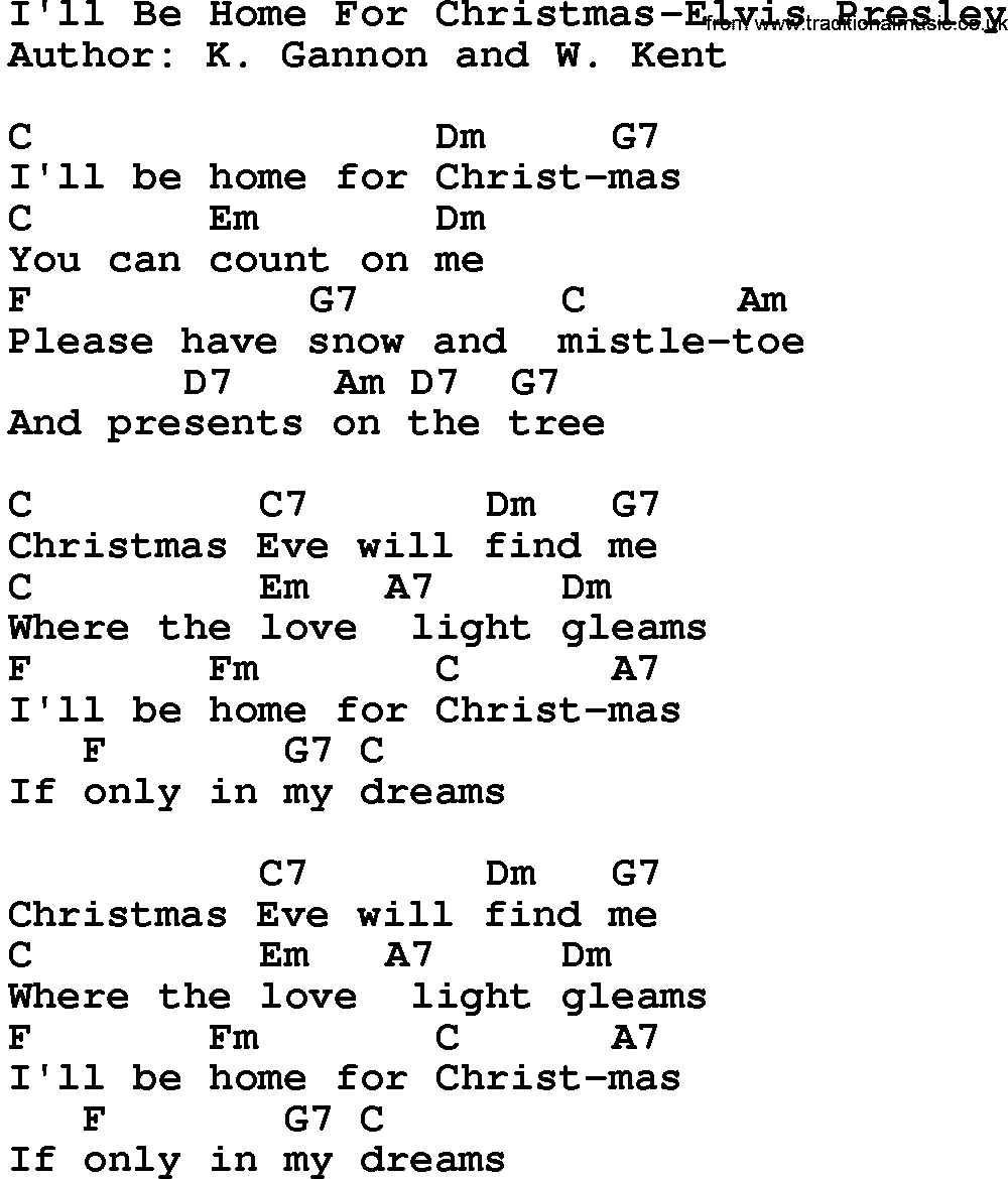 Ill Be Home For Christmas Chords.Country Music I Ll Be Home For Christmas Elvis Presley