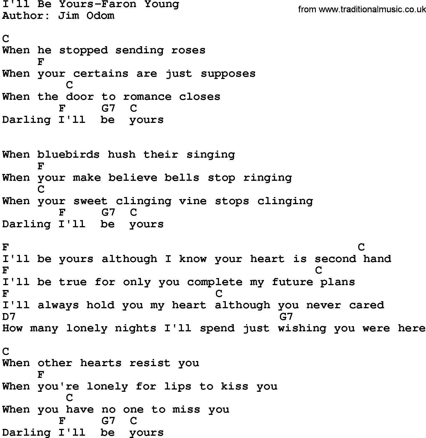 Country Music:I'll Be Yours-Faron Young Lyrics And Chords