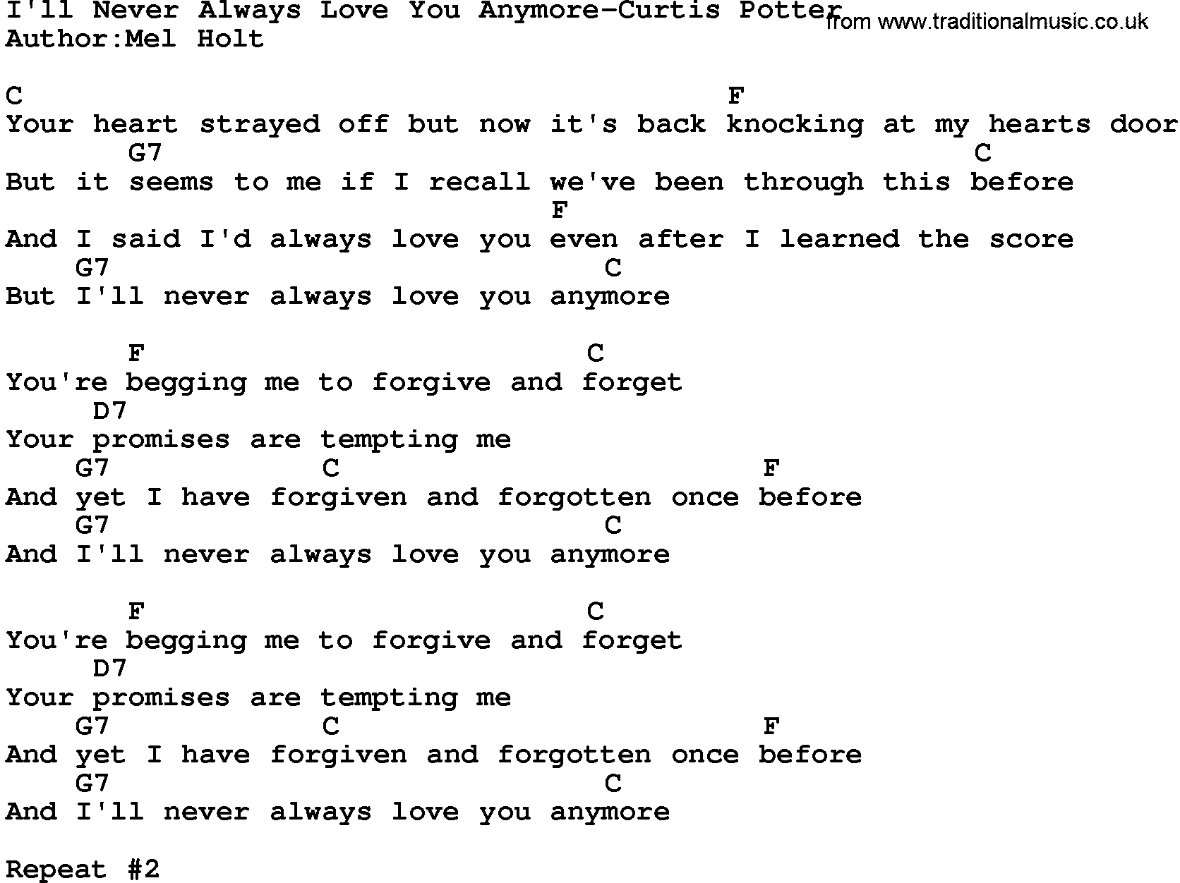 Country Musicill Never Always Love You Anymore Curtis Potter