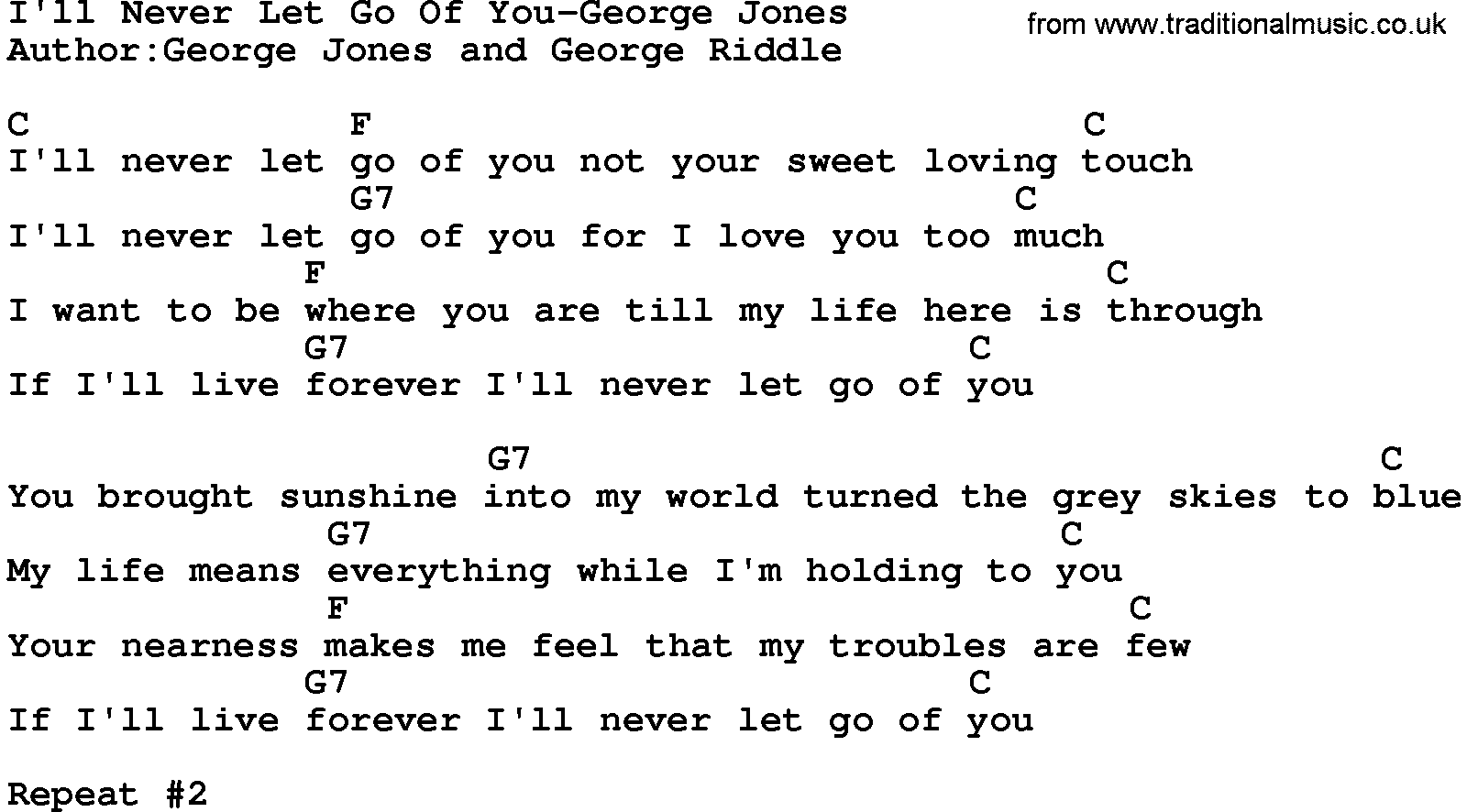 Country musicill never let go of you george jones lyrics and chords hexwebz Gallery