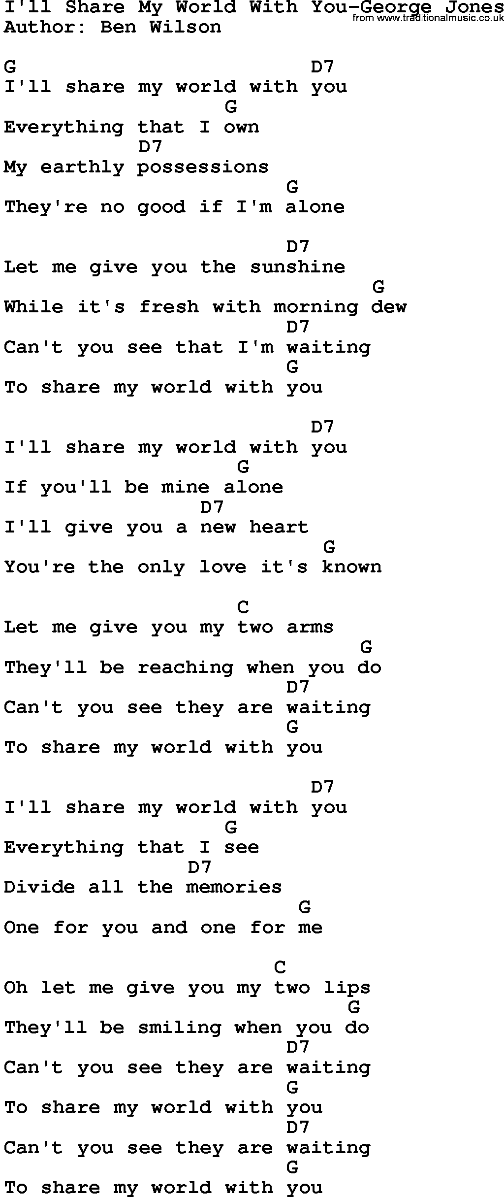 Country Musicill Share My World With You George Jones Lyrics And