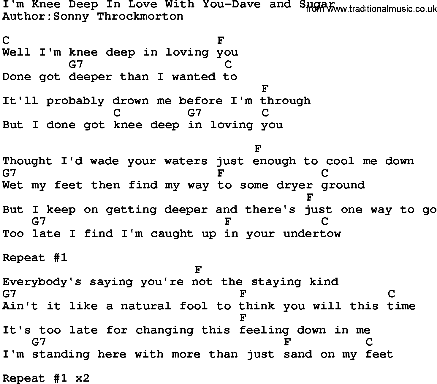 Country Musicim Knee Deep In Love With You Dave And Sugar Lyrics