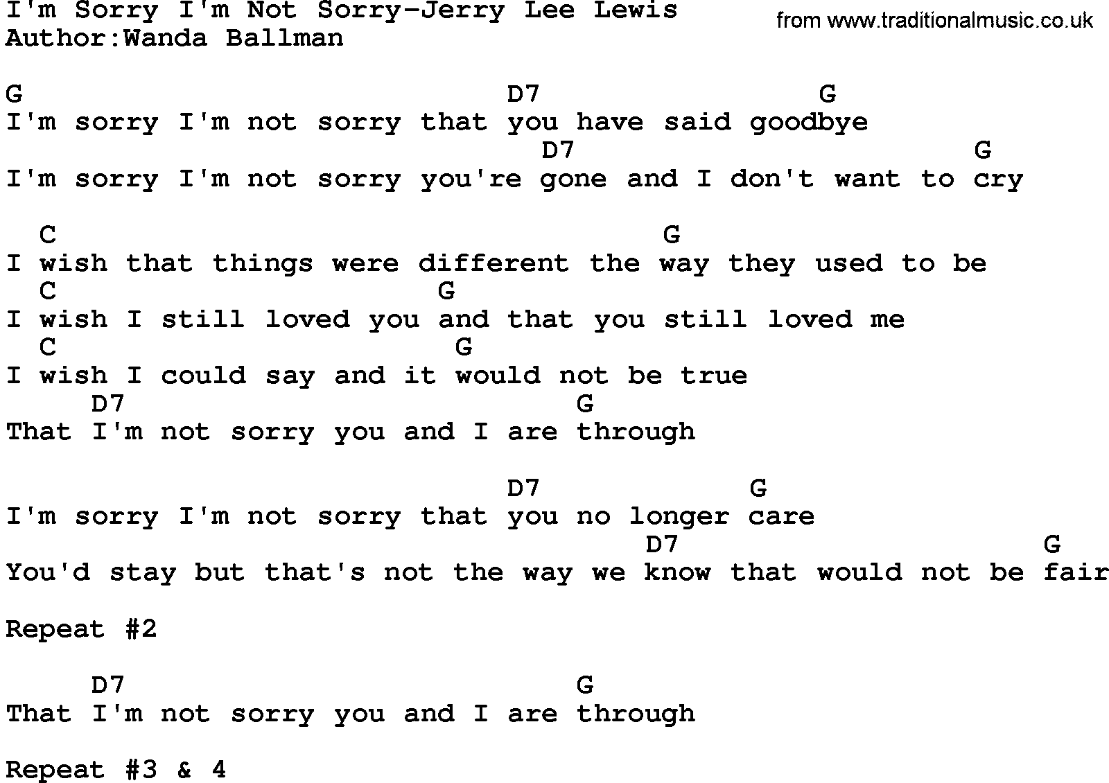Sorry guitar chords choice image guitar chords examples country musicim sorry im not sorry jerry lee lewis lyrics and country musicim sorry im not hexwebz Gallery