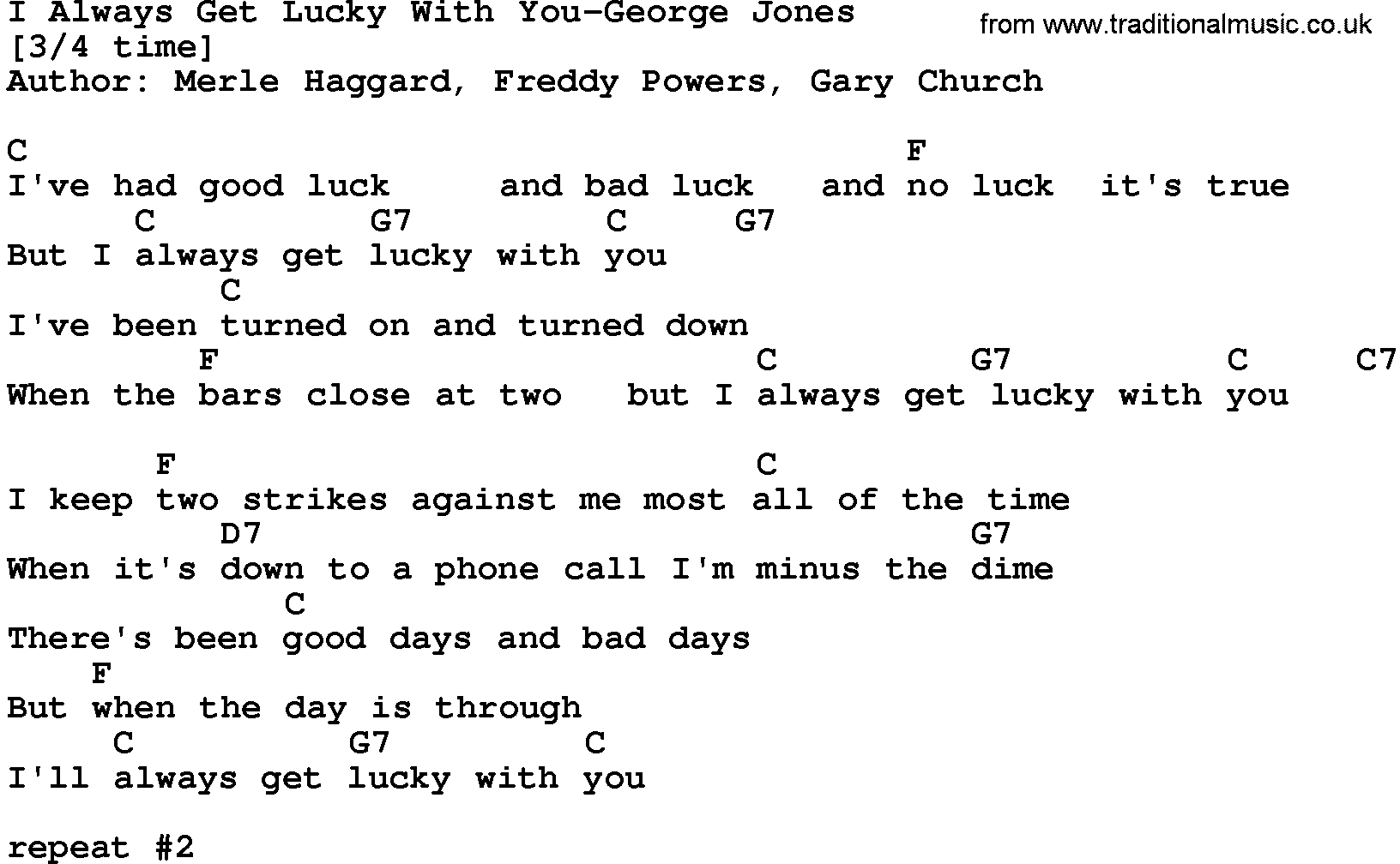 Country Music:I Always Get Lucky With You-George Jones Lyrics and Chords
