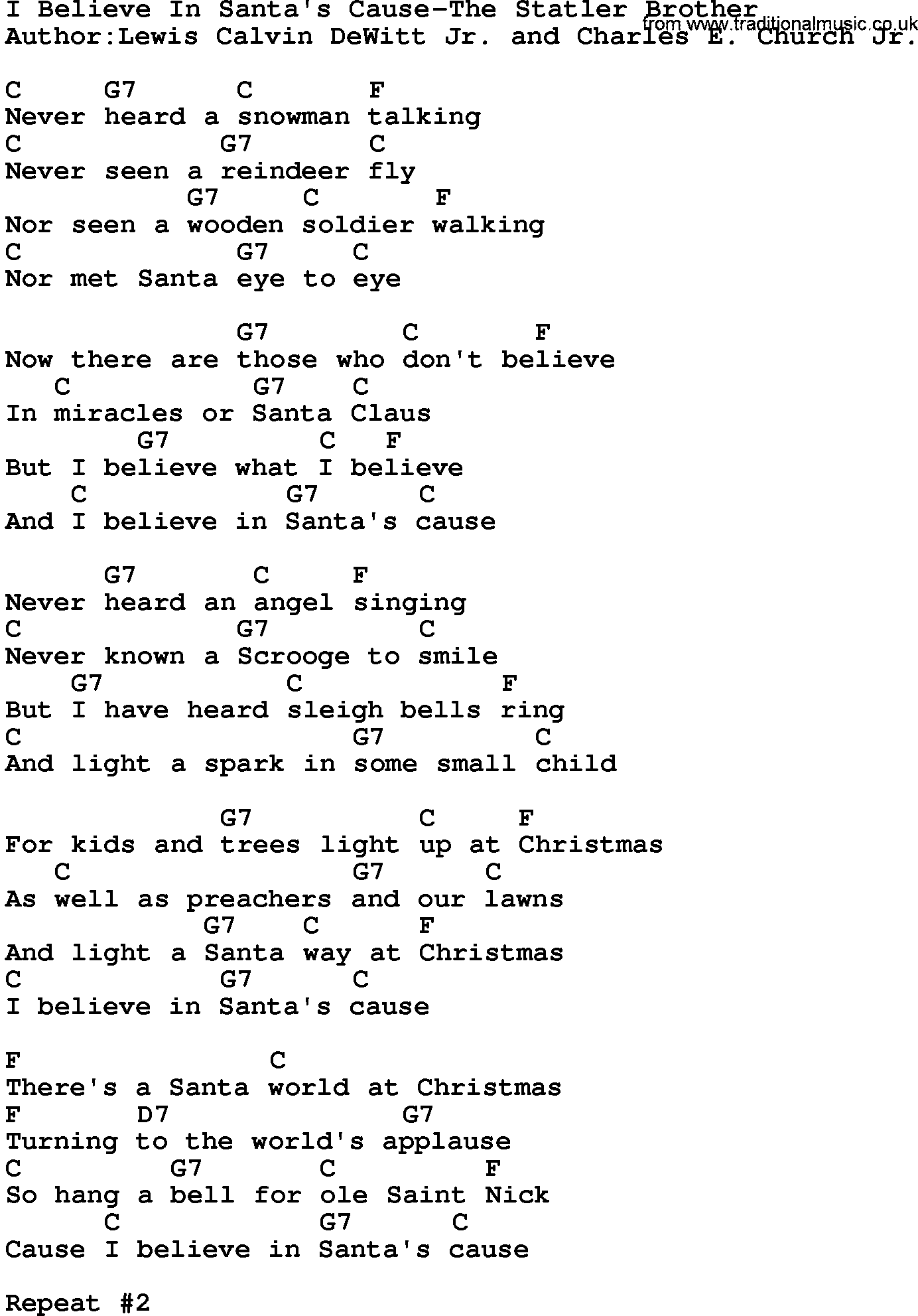 country musici believe in santas cause the statler brother lyrics and chords - Believe Christmas Song