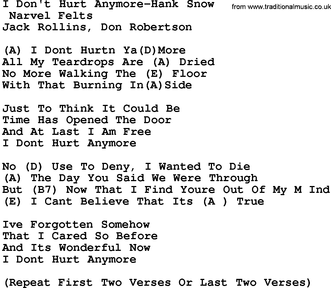 Country Music:I Don't Hurt Anymore-Hank Snow Lyrics And Chords