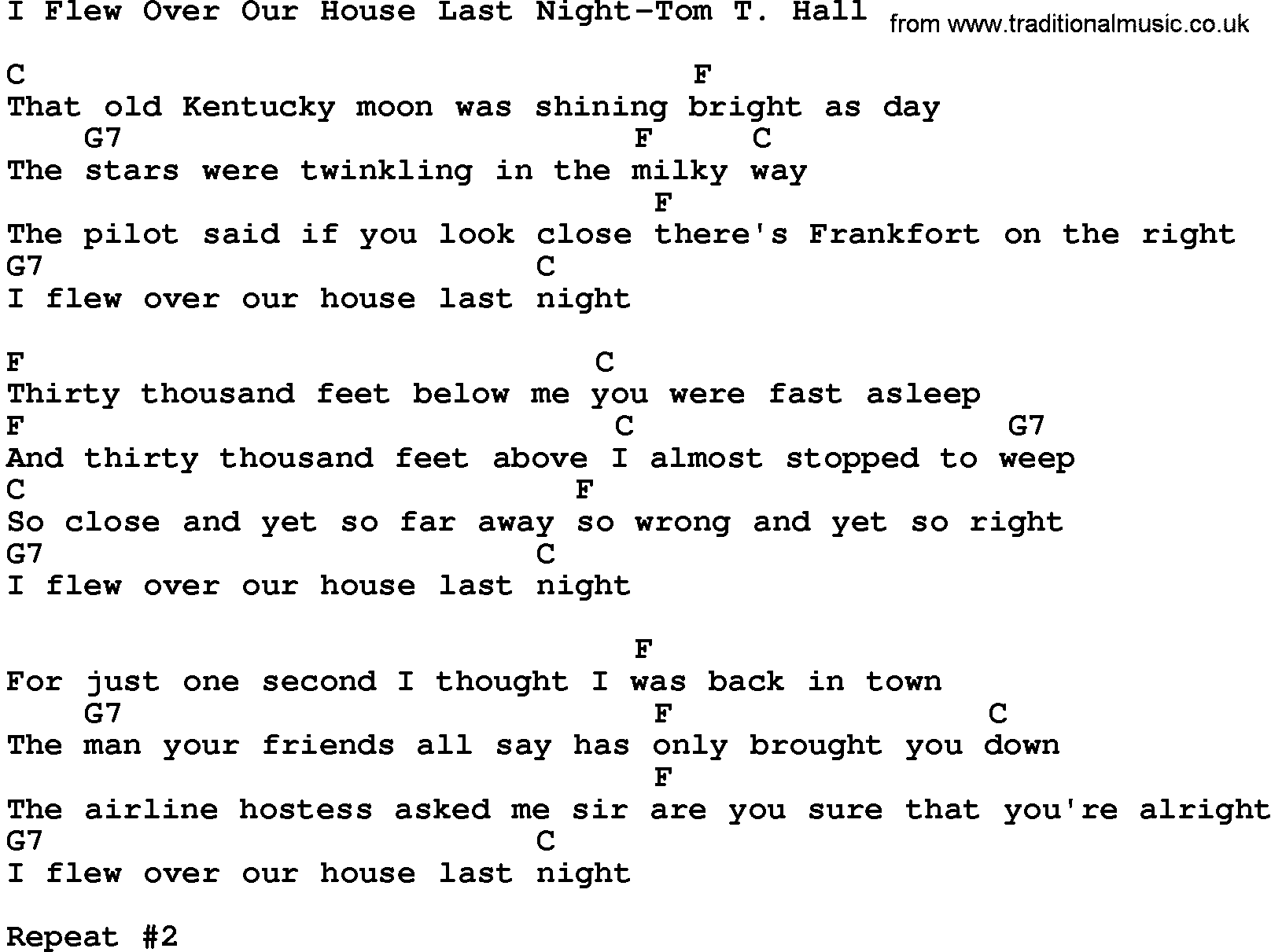Country MusicI Flew Over Our House Last Night Tom T Hall Lyrics