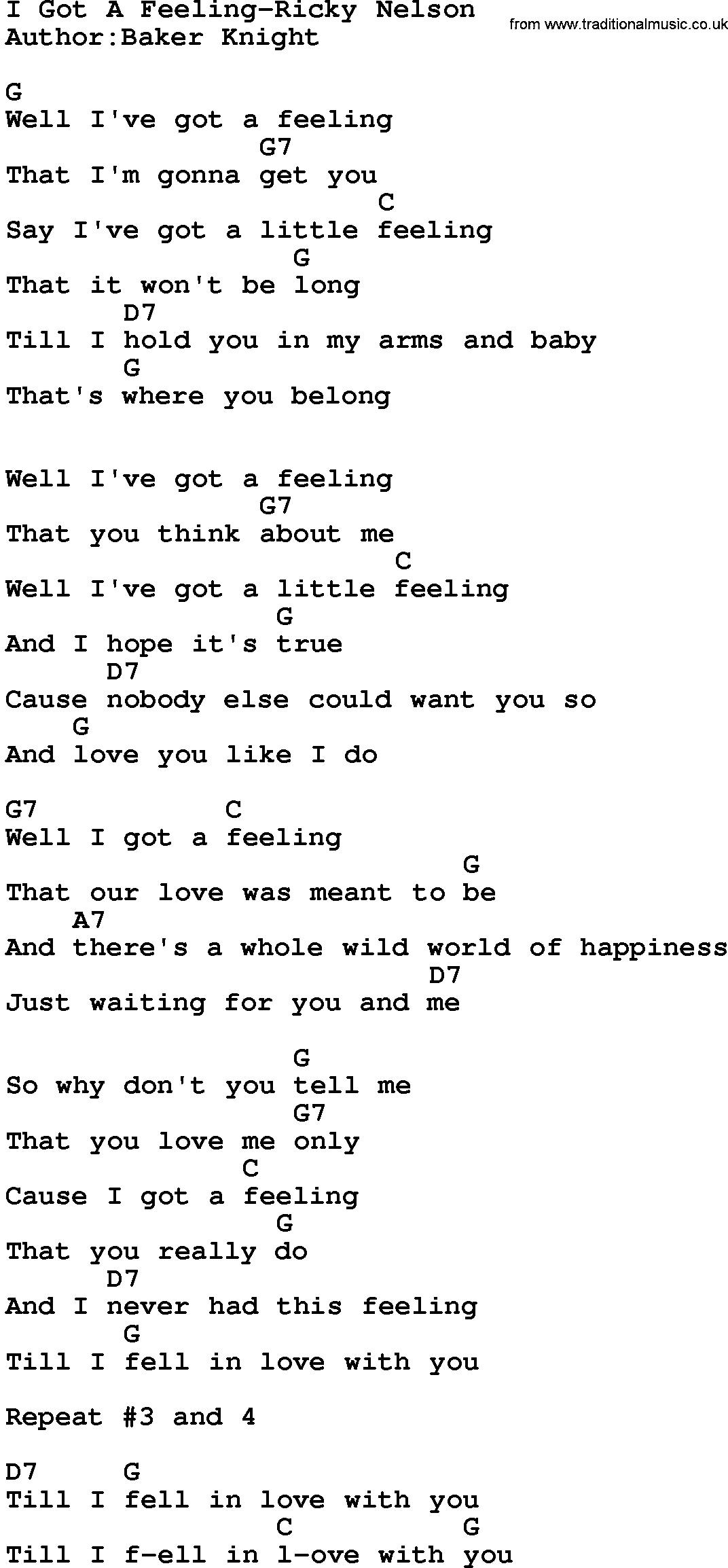 Country Music:I Got A Feeling-Ricky Nelson Lyrics and Chords