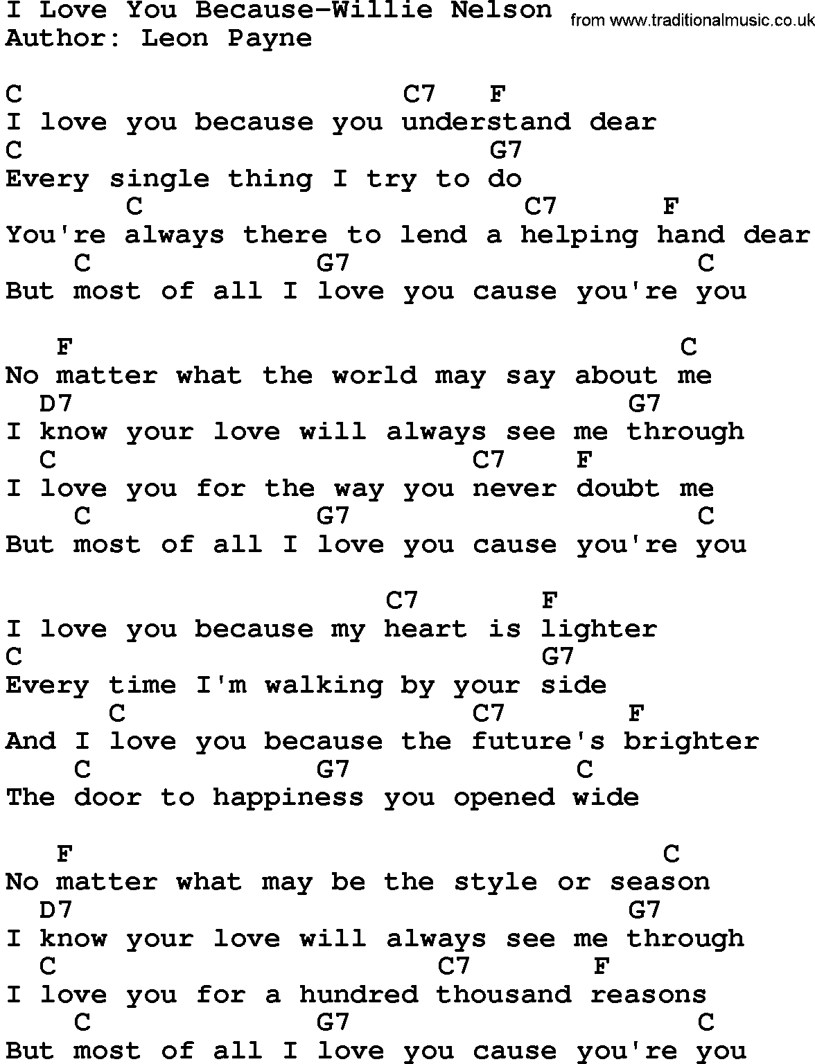 graphic relating to I Love You Because Printable identify Place New music:I Take pleasure in On your own Given that-Willie Nelson Lyrics and Chords