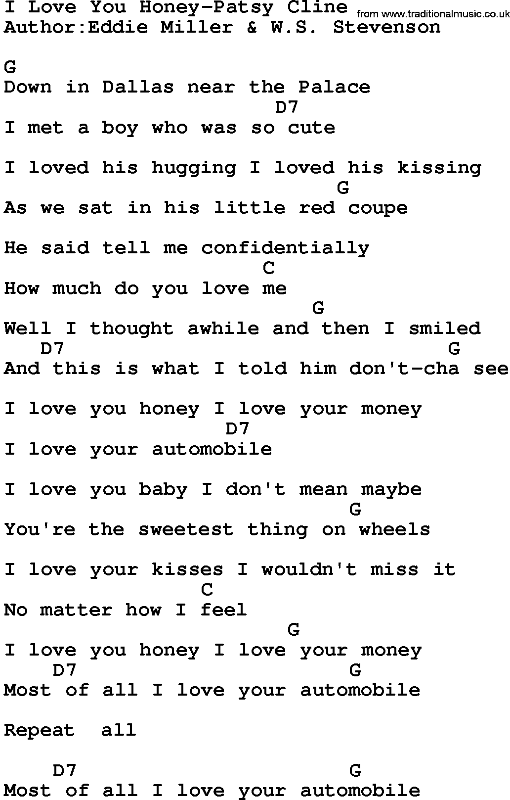 country musici love you honey patsy cline lyrics and chords