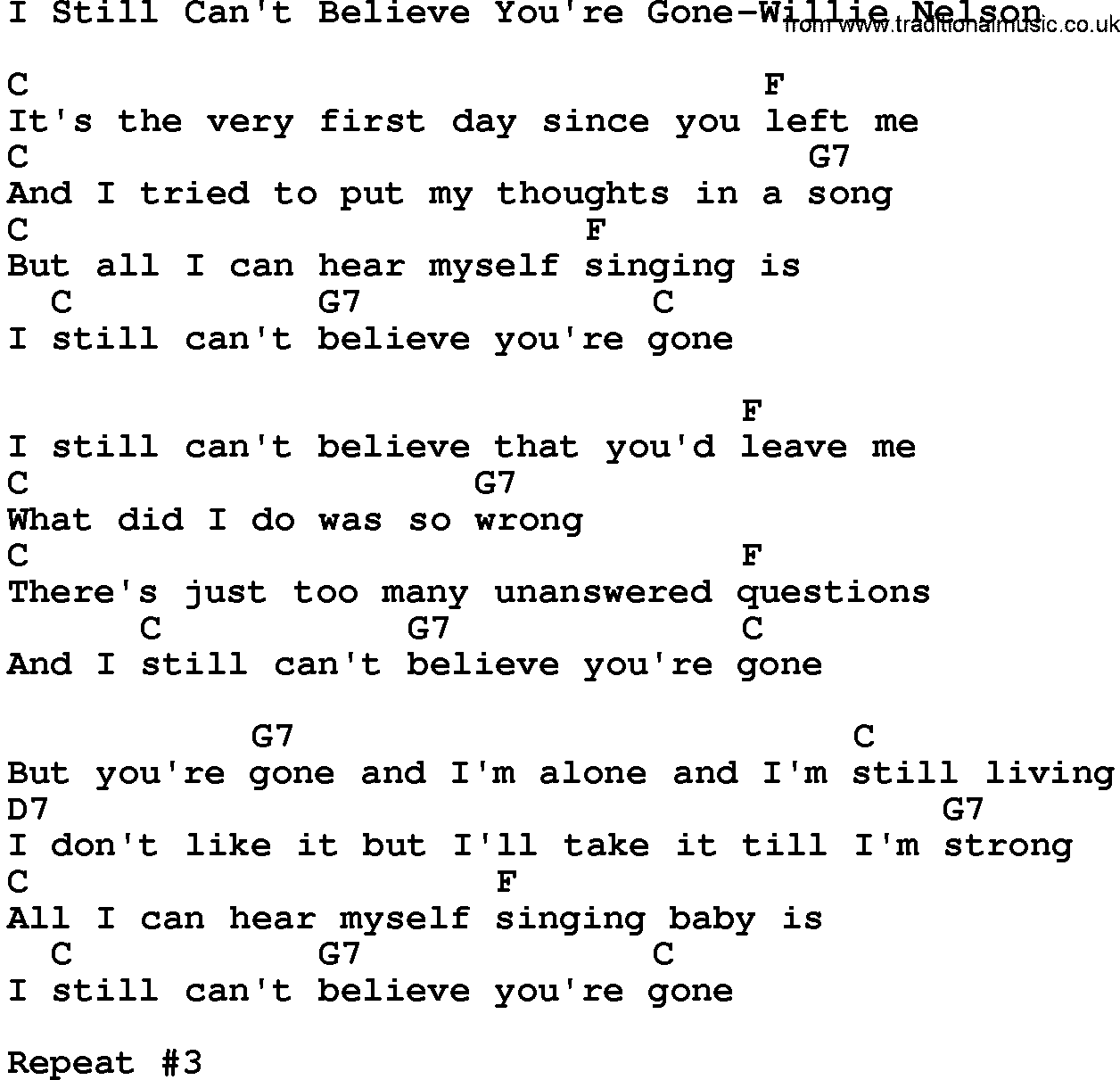 Country Musici Still Cant Believe Youre Gone Willie Nelson Lyrics