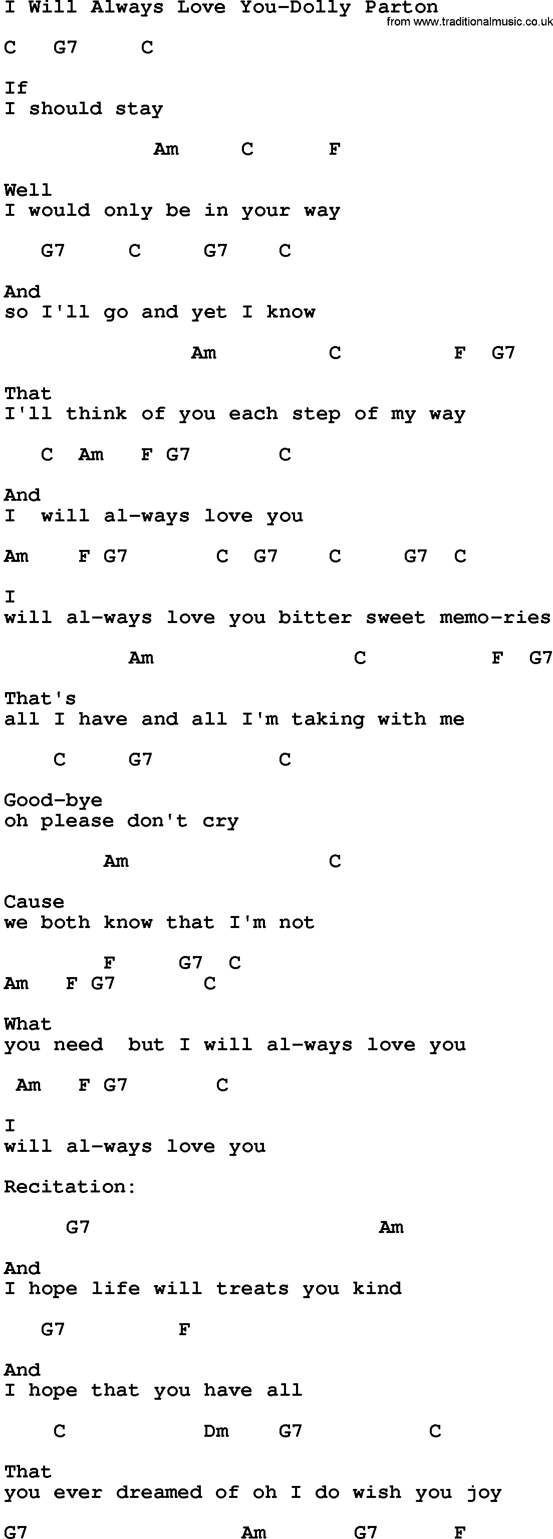 Lyrics for i ll always love you
