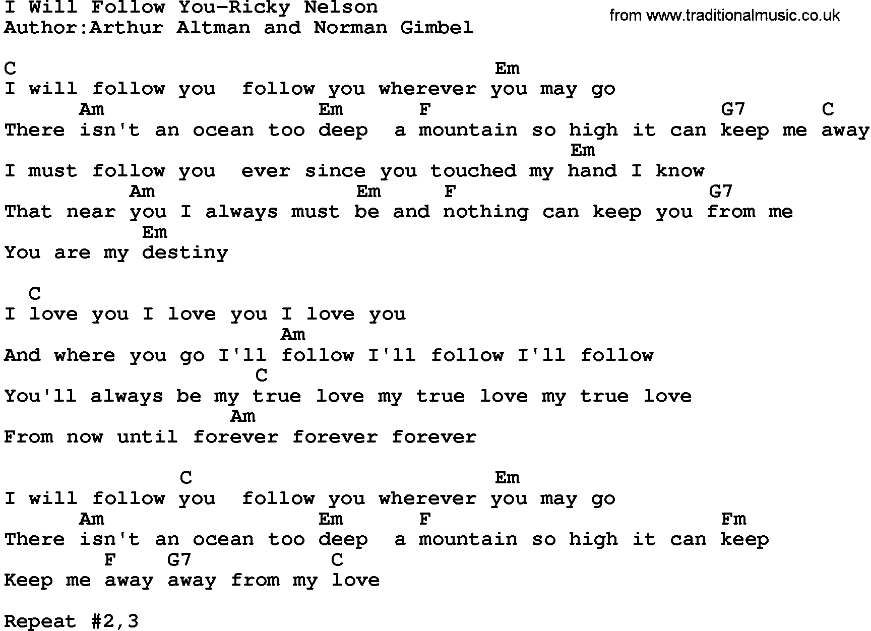 Country Musici Will Follow You Ricky Nelson Lyrics And Chords