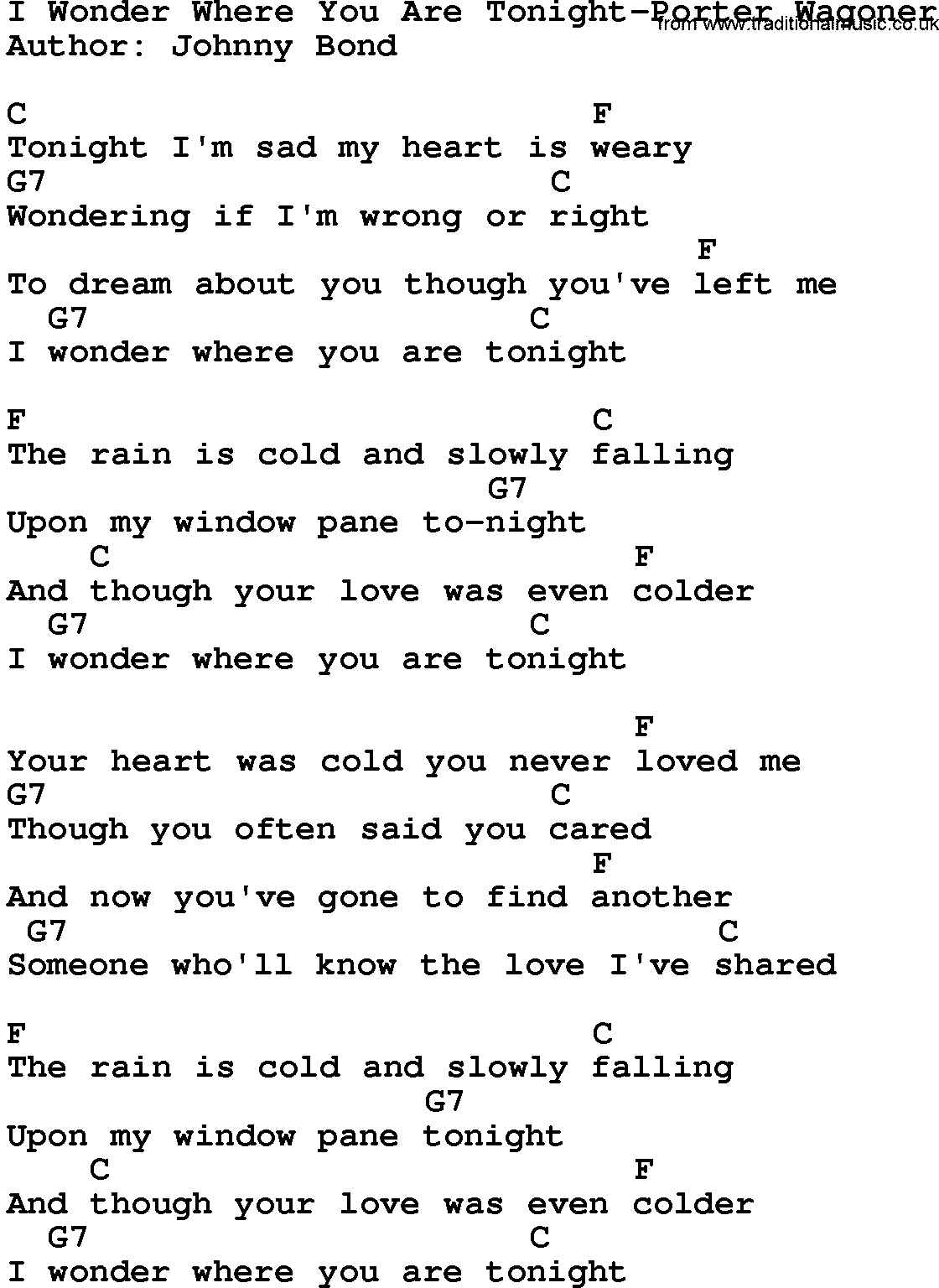 Country musici wonder where you are tonight porter wagoner lyrics country musici wonder where you are tonight porter wagoner lyrics and chords hexwebz Image collections