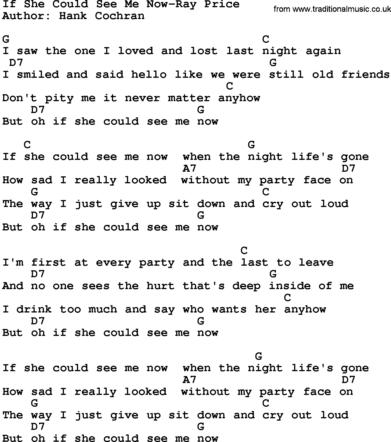 Country MusicIf She Could See Me Now Ray Price Lyrics and Chords
