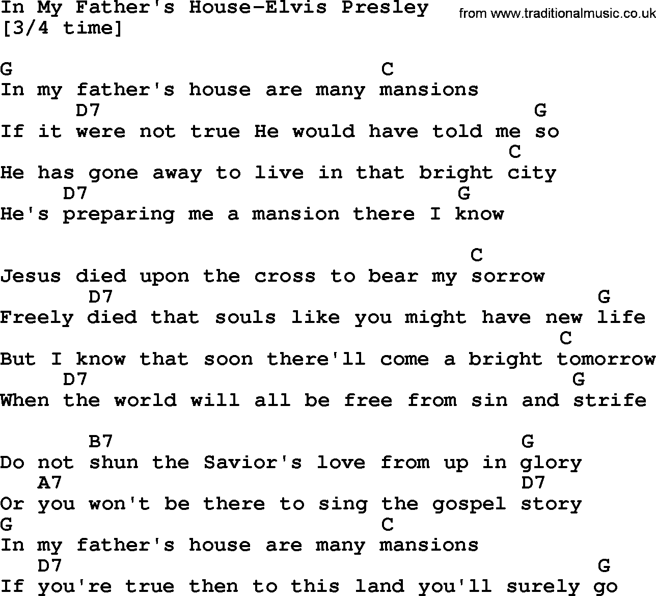 Country Music In My Father 39 S House Elvis Presley Lyrics