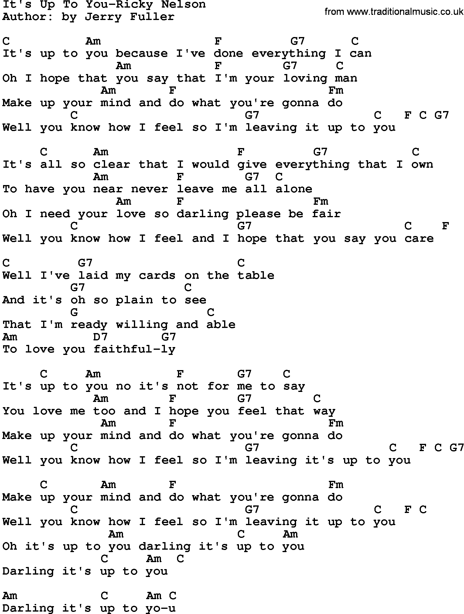 Country musicits up to you ricky nelson lyrics and chords hexwebz Image collections