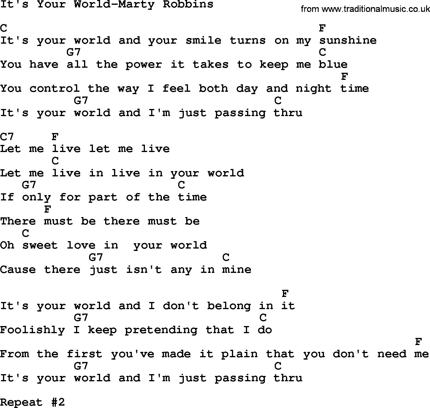 Country Musicits Your World Marty Robbins Lyrics And Chords