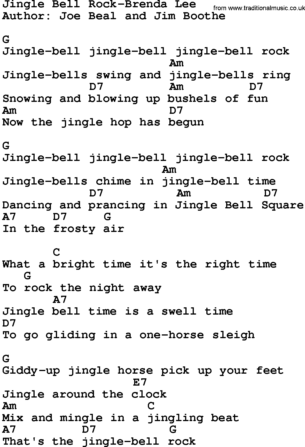 Country Music:Jingle Bell Rock-Brenda Lee Lyrics and Chords
