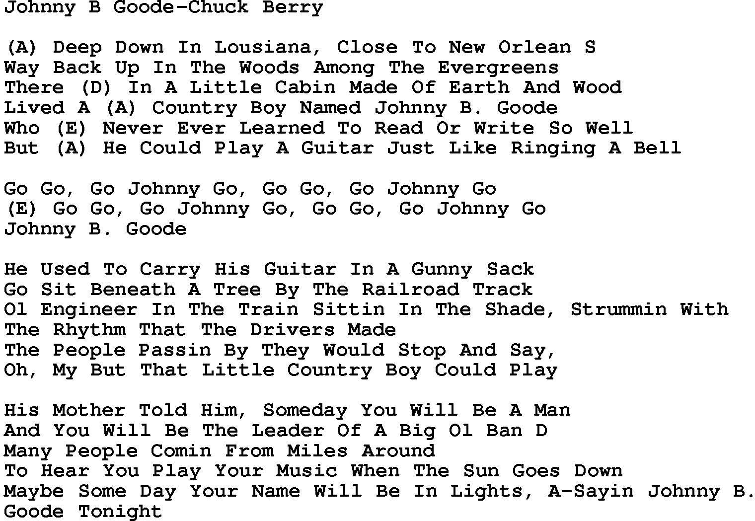 Chuck Berry – Johnny B. Goode Lyrics | Genius Lyrics