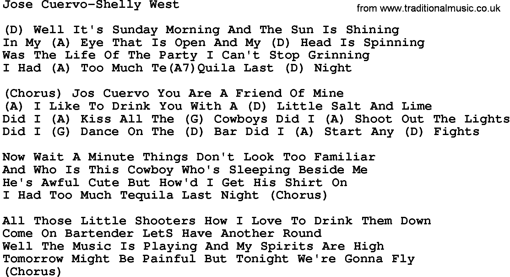 Country musicjose cuervo shelly west lyrics and chords hexwebz Images