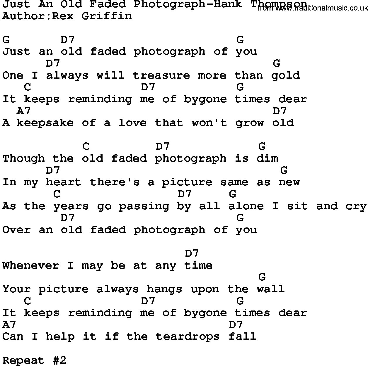 Country Music:Just An Old Faded Photograph-Hank Thompson Lyrics and Chords