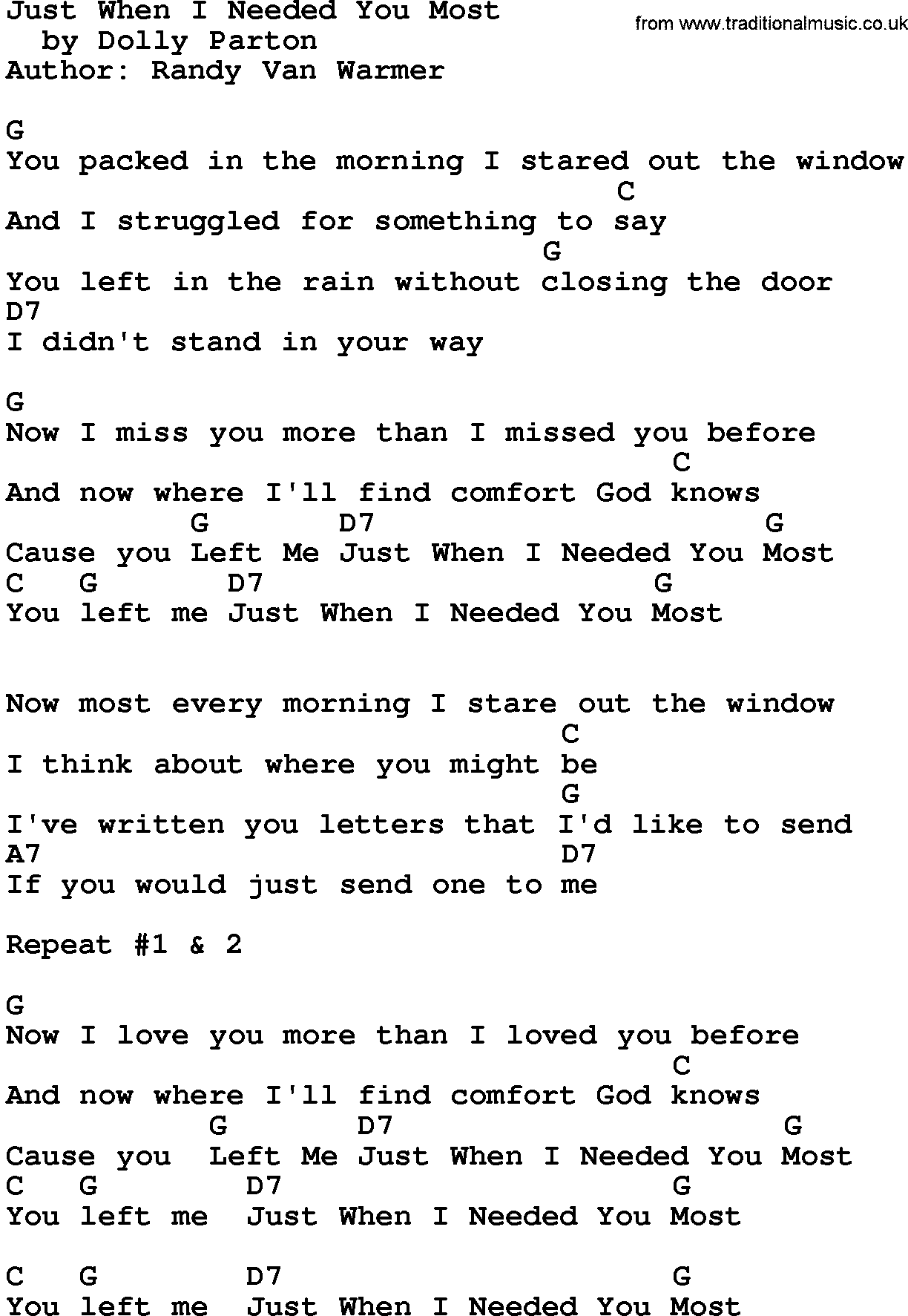 Country Musicjust When I Needed You Most Lyrics And Chords