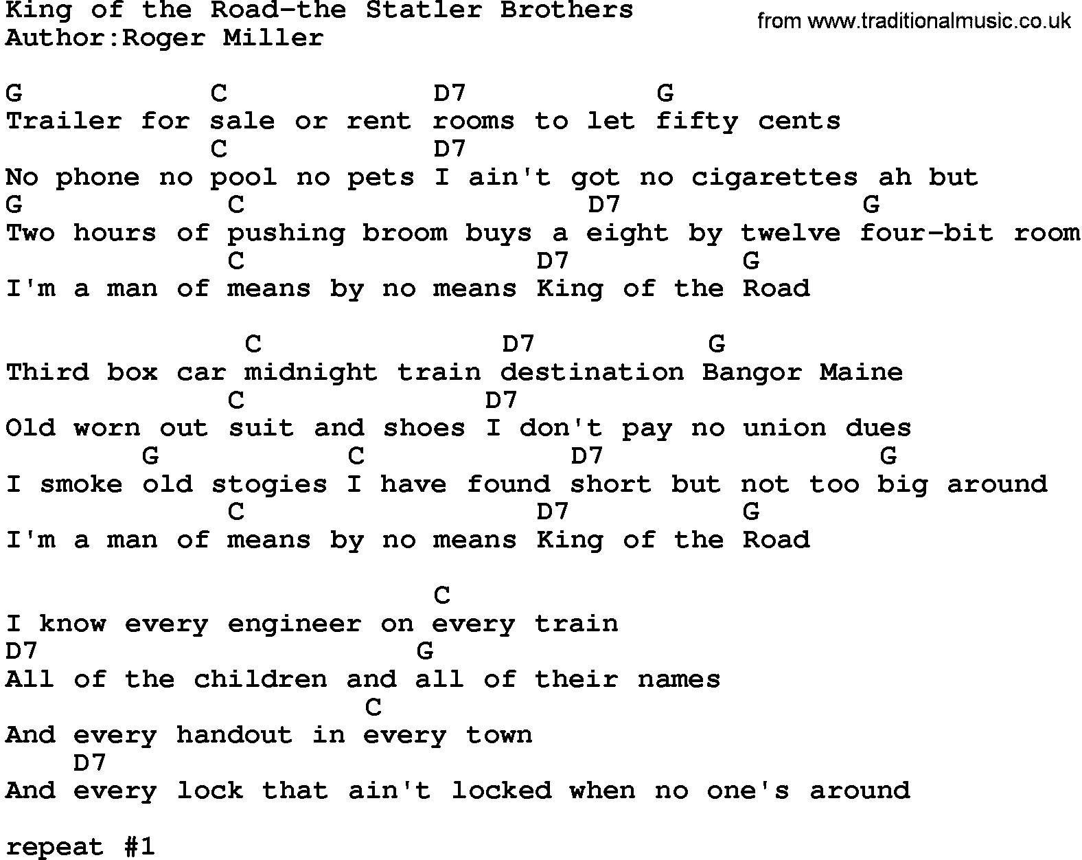 Country Musicking Of The Road The Statler Brothers Lyrics And Chords