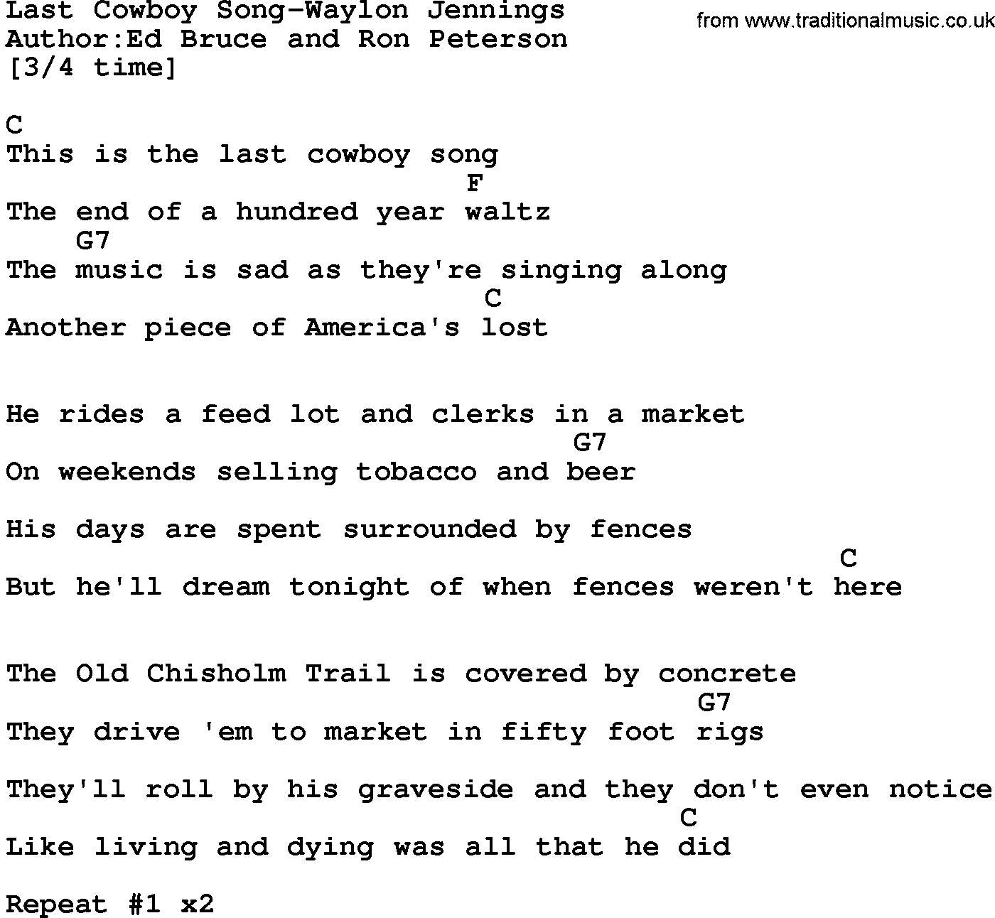 country music last cowboy song waylon jennings lyrics and chords. Black Bedroom Furniture Sets. Home Design Ideas