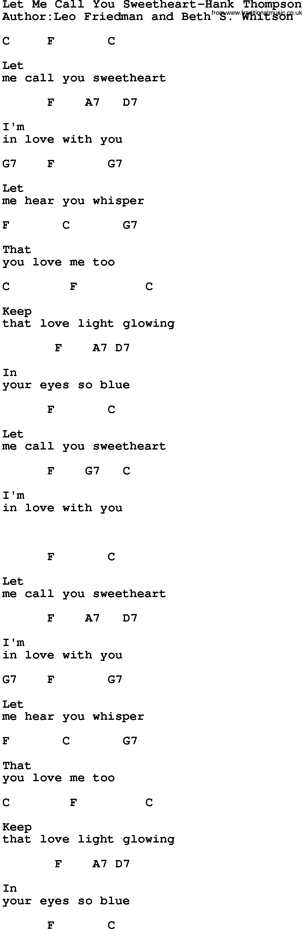Country musiclet me call you sweetheart hank thompson lyrics and country musiclet me call you sweetheart hank thompson lyrics and chords hexwebz Images