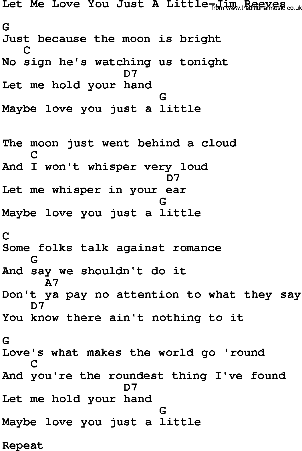 Country musiclet me love you just a little jim reeves lyrics and country musiclet me love you just a little jim reeves lyrics and chords hexwebz Images
