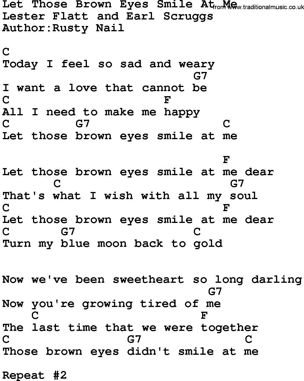 Country Musiclet Those Brown Eyes Smile At Me Lyrics And Chords