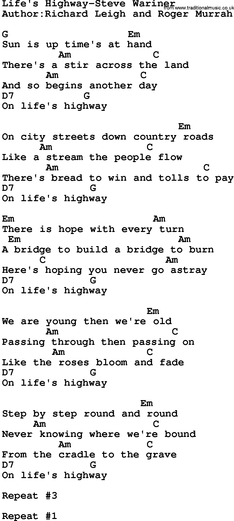 Uncategorized Life Is A Highway Lyrics country musiclifes highway steve wariner lyrics and chords