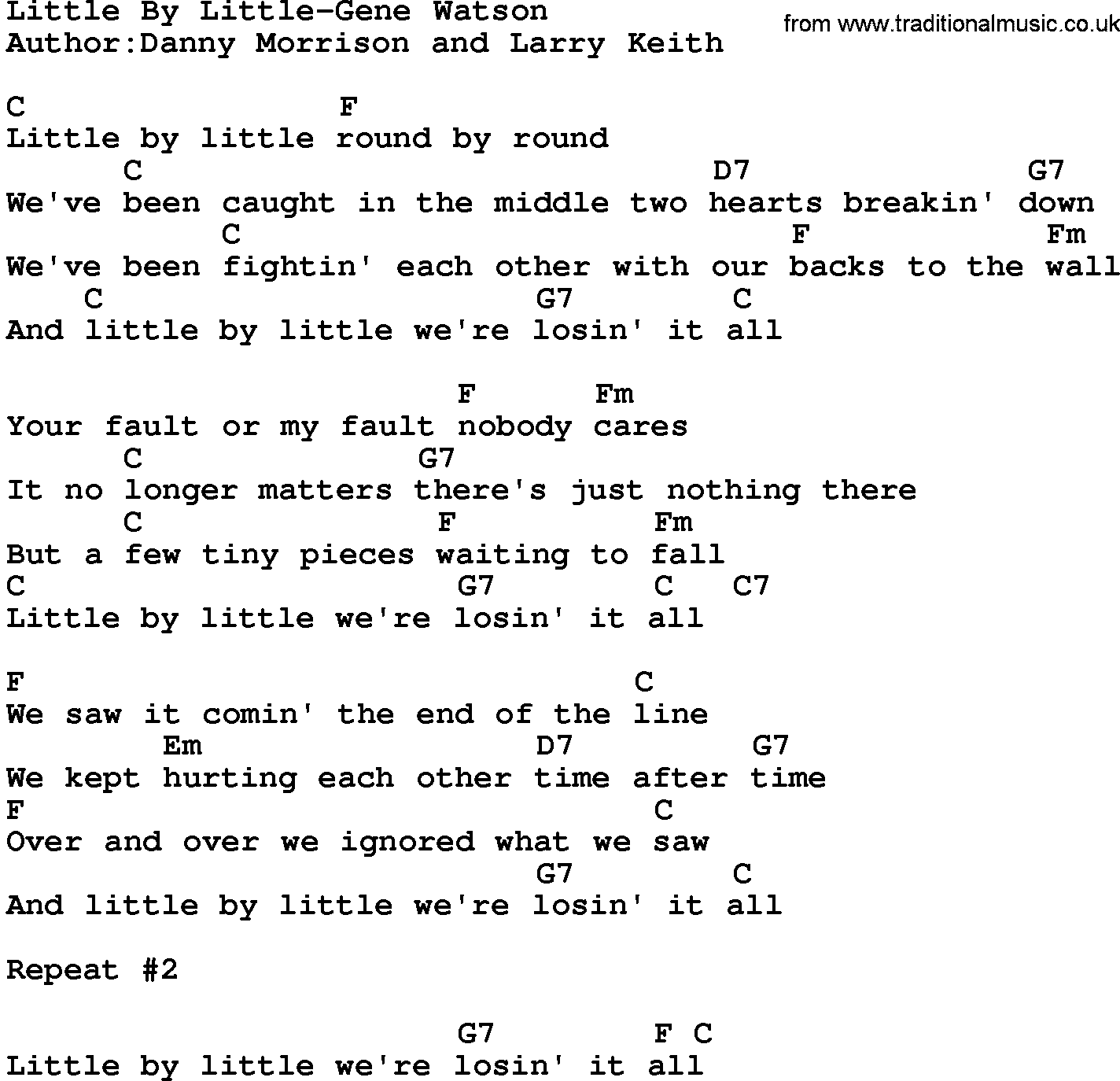 Country Musiclittle By Little Gene Watson Lyrics And Chords