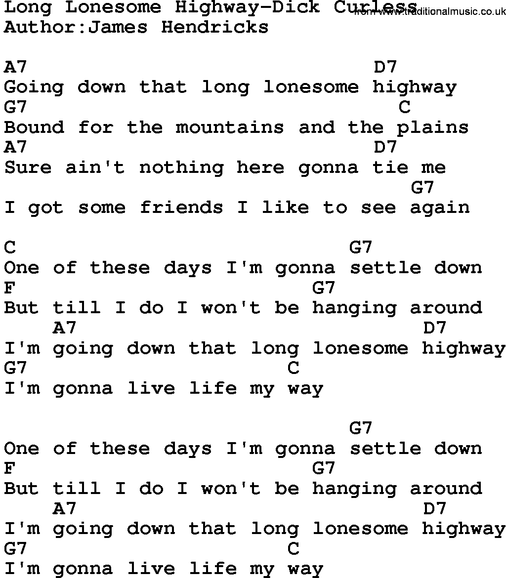Country musiclong lonesome highway dick curless lyrics and chords hexwebz Image collections