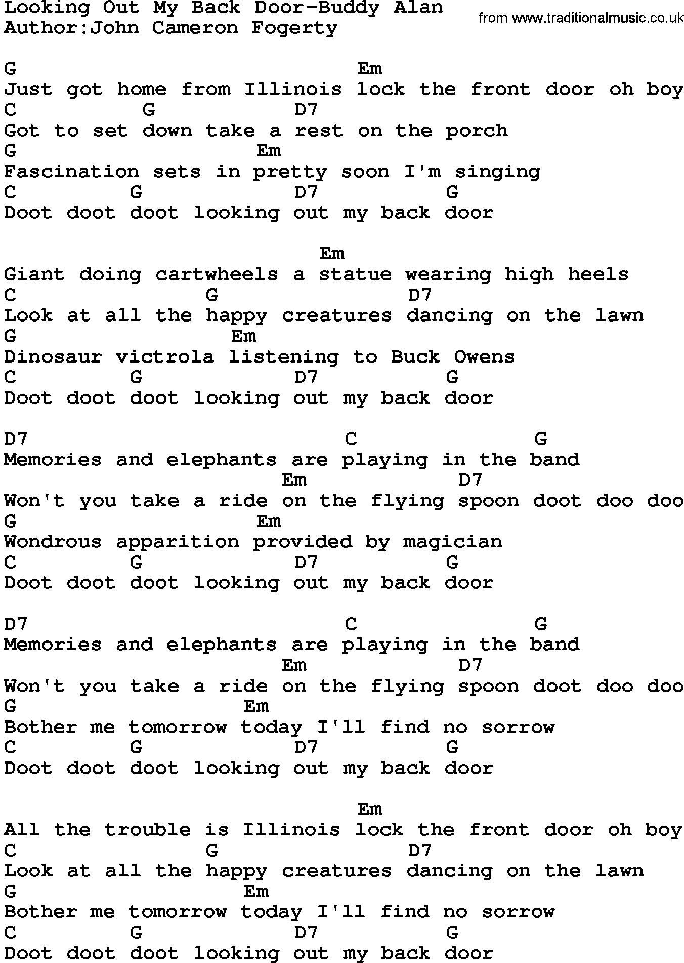 Country Music:Looking Out My Back Door-Buddy Alan Lyrics and Chords