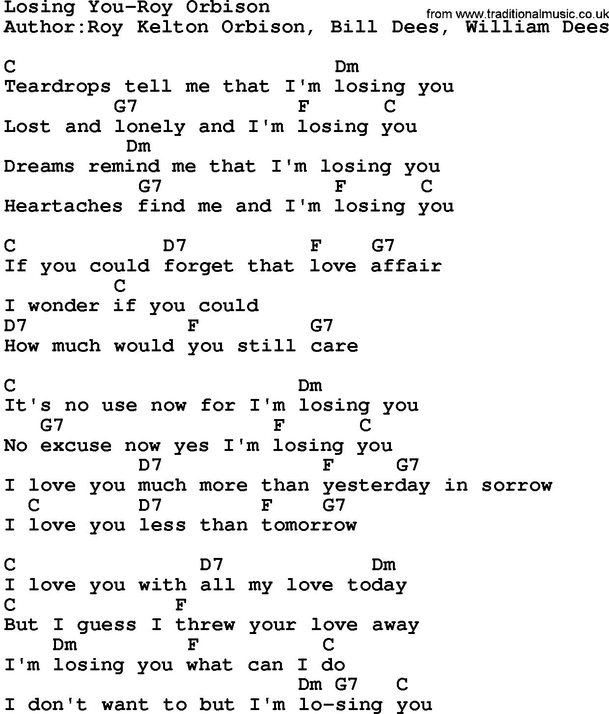 Lyrics containing the term: roy orbison