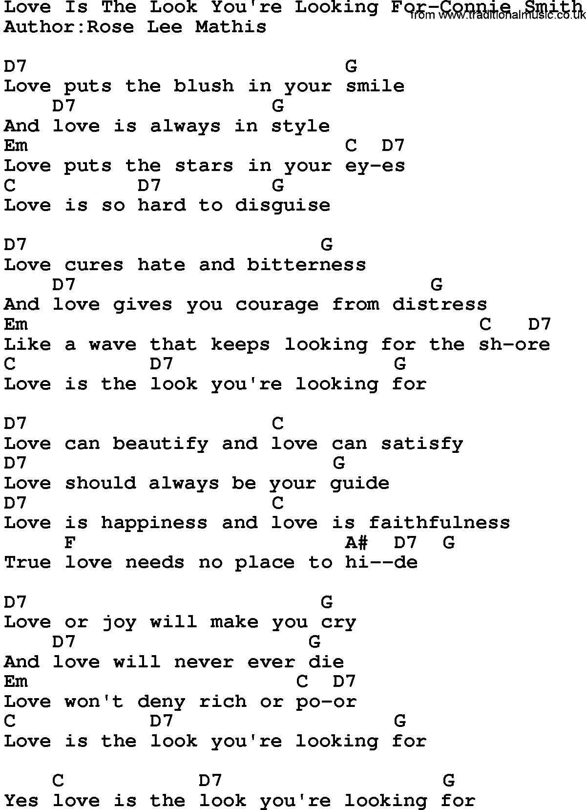 Looking for love song lyrics