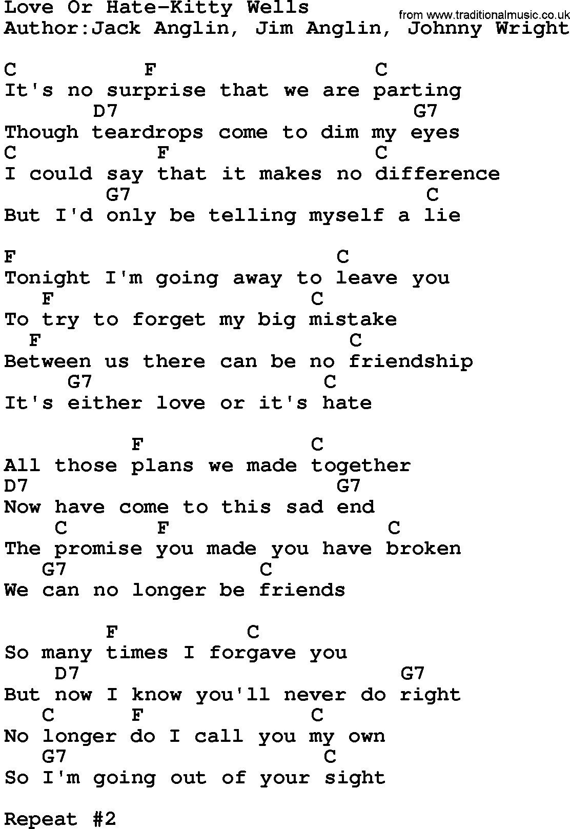 Country Musiclove Or Hate Kitty Wells Lyrics And Chords