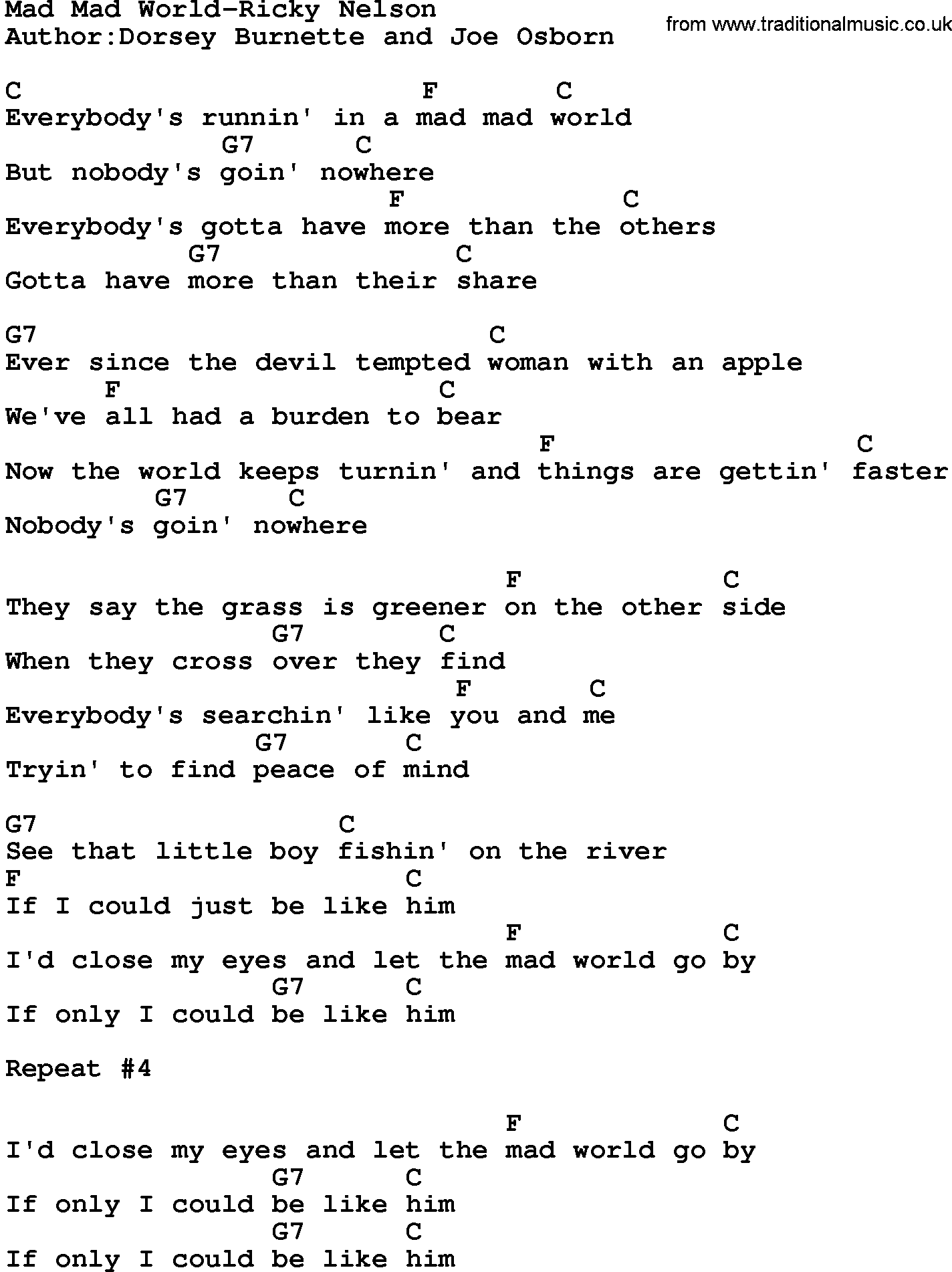 Country Musicmad Mad World Ricky Nelson Lyrics And Chords