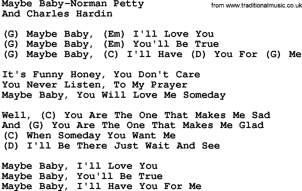 Country musicmaybe baby norman petty lyrics and chords hexwebz Images